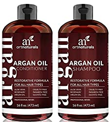 Artnaturals Organic Moroccan Argan Oil Shampoo & Conditioner Set - (2 X 16 Fl Oz473ml) - Sulfate Free - Volumizing & Moisturizing - Gentle On Curly & Color Treated Hair - Infused With Keratin