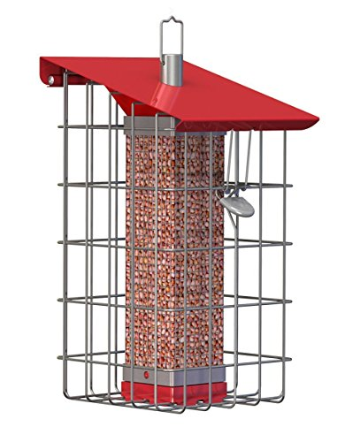 Red Peanut Feeder - The Nuttery NC015 Geohouse Peanut/Sunflower Seed Feeder
