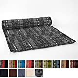 Leewadee Roll Up Thai Mattress XL, 79x41x2 inches, Kapok, Black, Premium Double Stitched