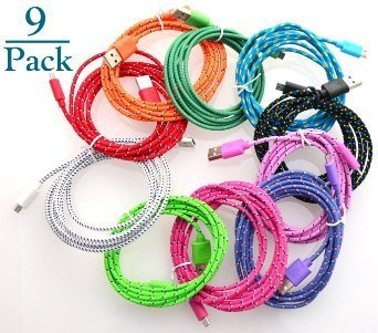 Josi Minea® 9 Pcs Fabric Braided Nylon Premium High Quality Ruggedized Micro USB Rainbow Cables 3 Feet / 1 Meter Charger Sync Data Rapid Charging Cable USB Cord Wire for Samsung Galaxy S4 / S3 / S2, Samsung Galaxy Note / Note 2, Galaxy Tab, Google Nexus 7 / 10, Nokia Lumia, and Most Android Tablets / Android Phones / Windows Phones (9 Pack) ()