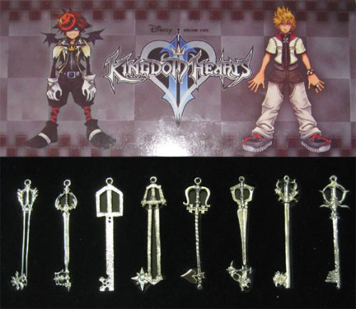 Kingdom Hearts II 8 KEYBLADE PENDANT SET Sora (Heart 2 Figure Collection)