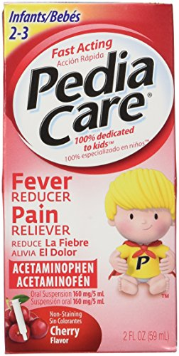 Pediacare Infants (2-3 yrs) Acetaminophen Fever Reducer Pain Releiver, Non Staining Cherry, 2 Fluid Oz