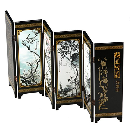 FIREBUGI Lacquer Painting Small Folding Screen Decoration Home Desktop Panel - Desk Screen
