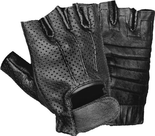 Shaf International Men's Leather Perforated Fingerless Glove (Black, X-Small) (Perforated Gloves Fingerless)