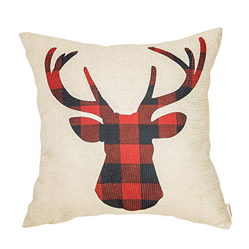 Fahrendom Christmas Winter Buffalo Red and Black Plaid Deer Antler Holiday Sign Gift Cotton Linen Home Decorative Throw Pillow Case Cushion Cove for Sofa Couch 18 x 18 in ()