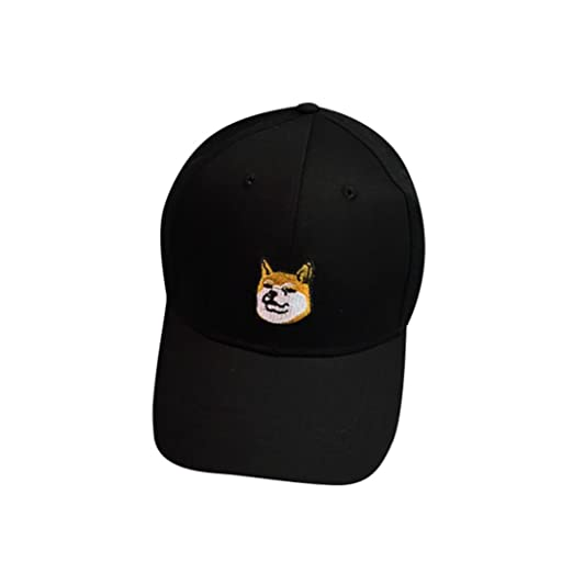 d732c421b89 WILLTOO Cap Dog Pattern Unisex Fashion Baseball Cap Adjustable Hip Hop Hat  (Black)