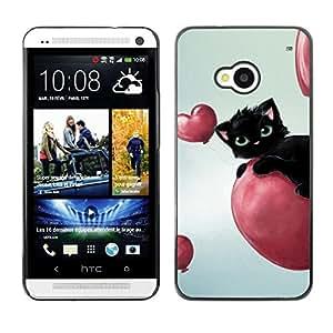 PC/Aluminum Funda Carcasa protectora para HTC One M7 Cat Pink Hearts Balloon Black Blue Eyes / JUSTGO PHONE PROTECTOR