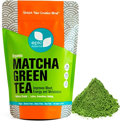 Epic Matcha Organic Green Tea Powder - 4oz/113g (48 servings) - Culinary Grade, Non-GMO, Vegan, Unsweetened - Best for Smoothies, Lattes, Drinks, Baking, Cooking, and Desserts (Macaron Mix Baking)