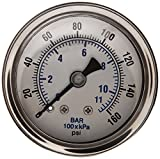 PIC Gauge 202L-158F 1.5'' Dial, 0/160 psi Range, 1/8'' Male NPT Connection Size, Center Back Mount Glycerine Filled Pressure Gauge with a Stainless Steel Case, Brass Internals, Stainless Steel Bezel, and Polycarbonate Lens