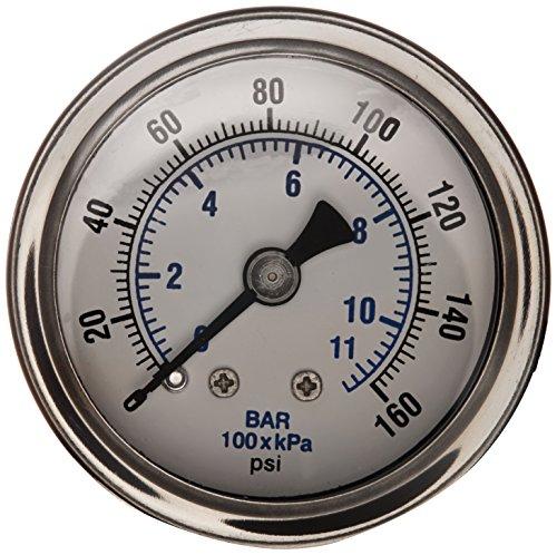 Back Mount Pressure Gauge (PIC Gauge 202L-158F Glycerin Filled Industrial Center Back Mount Pressure Gauge with Stainless Steel Case, Brass Internals, Plastic Lens, 1-1/2