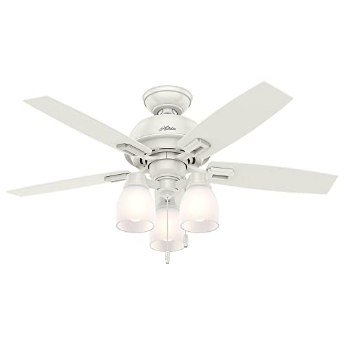 Hunter Indoor Ceiling Fan, with pull chain control – Donegan 44 inch, White, 52229