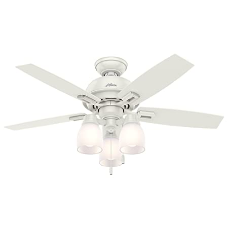 Hunter Fan Company 52229 Hunter 44 Donegan Three Fresh White Ceiling Fan with Light , Bronze Dark