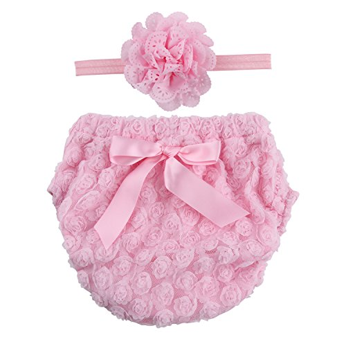- ICObuty Rose Ruffle Bloomer Diaper Cover for Baby Girls Toddlers (0-12m Small, Pink)
