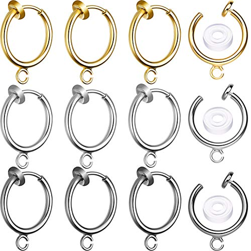 30 Sets Clip-on Earring Converters Non-Pierced Earring Findings Dangle Earring Clips with Easy Open Loop and Silicone Earring Pads for Daily Accessory, 3 Colors (Style B)