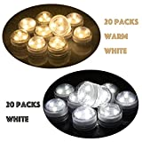 Set of 40 AceList Submersible Waterproof Underwater Tea Light Sub Lights Battery Operated LED TeaLight Thanksgiving Halloween Wedding Decoration Party Electric Flameless Candle