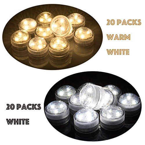 Set of 40 AceList Submersible Waterproof Underwater Tea Light Sub Lights Battery Operated LED TeaLight Thanksgiving Halloween Wedding Decoration Party Electric Flameless - Tower Directions Water Place