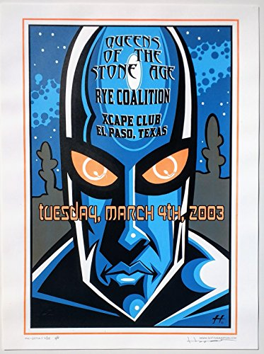Queens of The Stone Age Concert Poster Justin Hampton Signed Orange Edition El Paso 2003