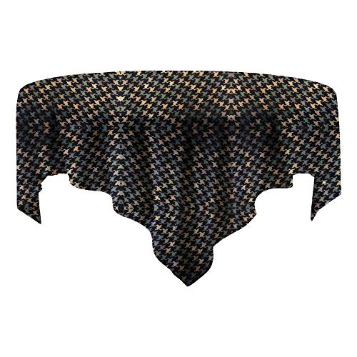 Raymond Waites Round Houndstooth Print Tablecloth Kitchen Linen Cloth Dining Table Washable Fabric Circular Tables Cotton Black Yellow Green 70 Inches Diameter