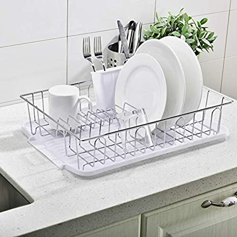 Popity home 3piece Sturdy Kitchen Sink Side Kitchen Counter Top Black Draining Dish Drying Rack,Dish Rack with Utensil Holder and Drainboard