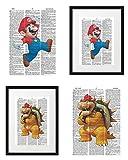Signature Studios Nintendo Wall Art Super Mario Bros Print Super Mario and Bowser Posters Set of (2) Dictionary Art Prints 8x10