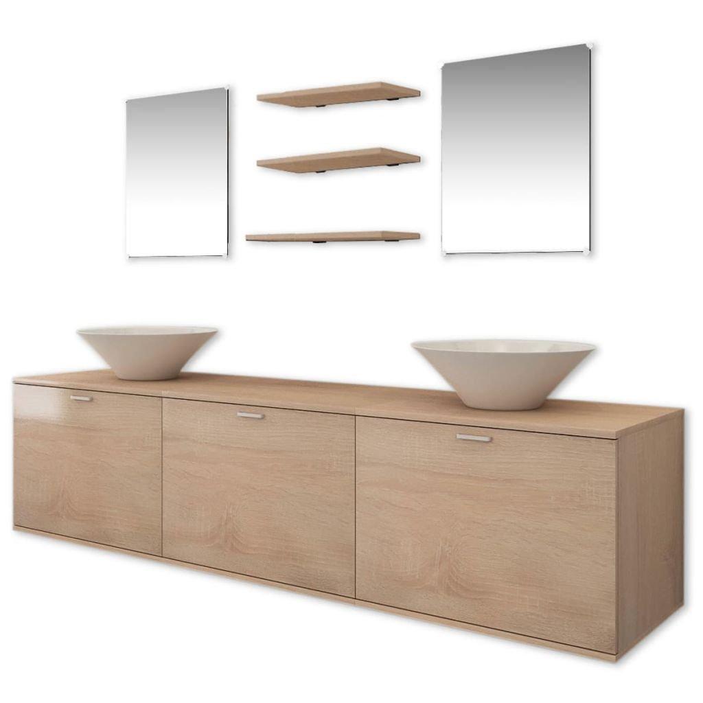 vidaXL Set de Mobiliario de Baño con Lavabo de Cerámica Pack de 3 Unidades Color Beige