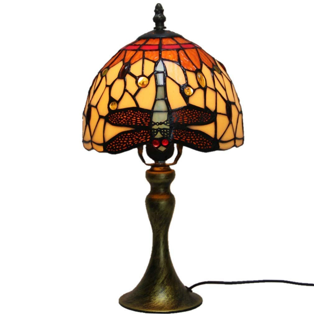 Farbiges Glas Tischlampe, European Creative Glaslampe, Studie Schlafzimmer Leselampe, bequeme weiche Leselampe.