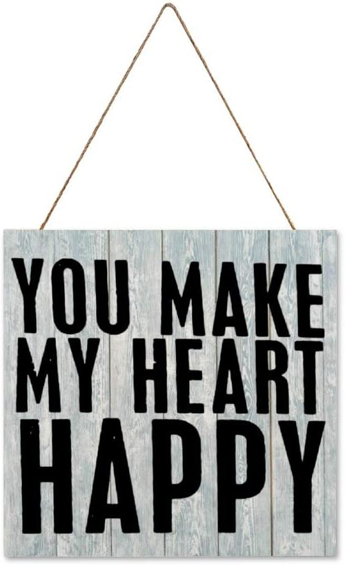 DONL9BAUER You Make My Heart Happy Hanging Wood Sign Plaque Wall Decor Sign Valentines Day Rustic Wall Art for Living Room Indoor Outdoor