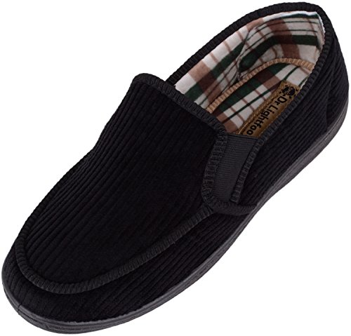 Mens Dr Lightfoot Soft Cord Slip On Slippers / Indoor Shoes with Memory Foam Insole Black