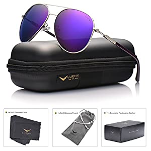 LUENX Aviator Sunglasses Womens Mens Polarized Mirror Purple Lens Silver Metal Frame Large 60mm