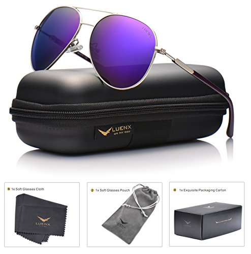 LUENX Aviator Sunglasses Womens Mens Polarized Mirror Purple Lens Silver Metal Frame Large - Aviator Sunglasses Women