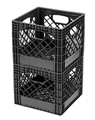 Buddeez Milk Crates, 16-Quart, Black