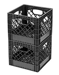 Buddeez MC01016BLK Milk Crates, 16-Quart, Black, 2-Pack