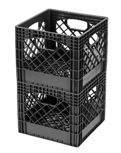 Buddeez MC01016BLK Milk Crates, 16-Quart, Black, 2-Pack]()
