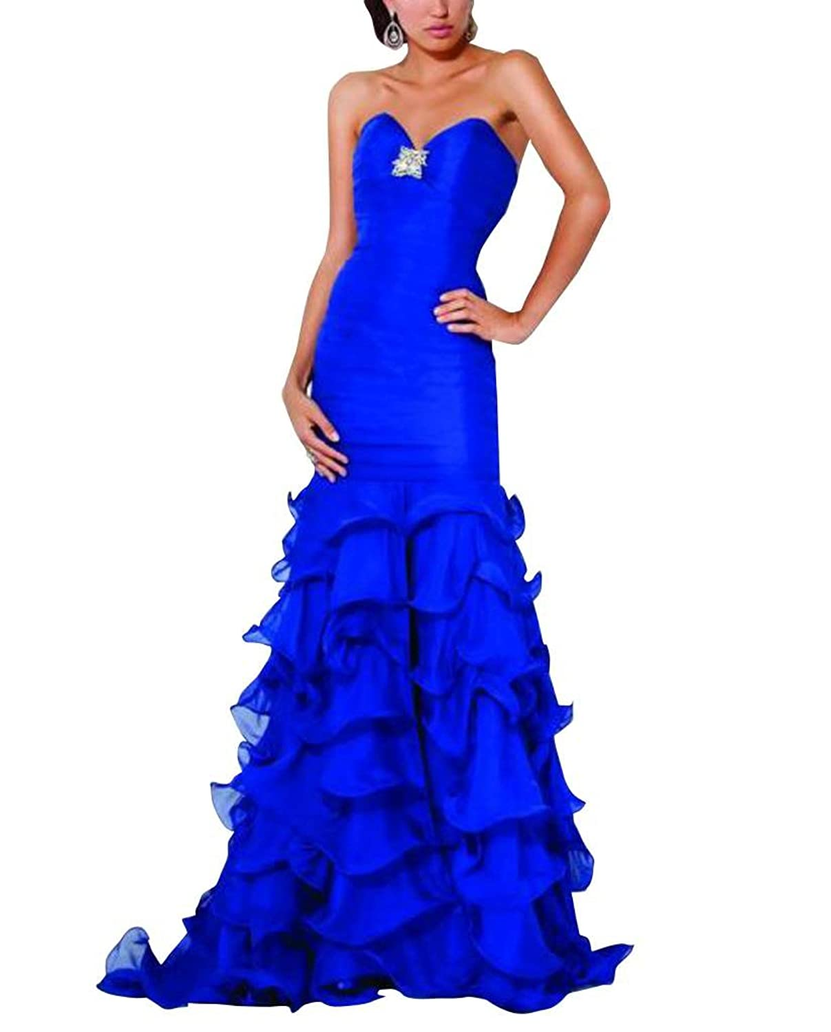 GEORGE BRIDE Blue Trumpet/ Mermaid Sweetheart Sweep Train Evening Dress With Beaded Appliques