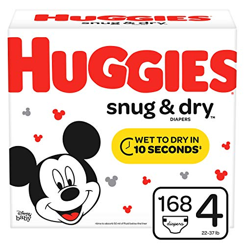 HUGGIES Snug & Dry Baby Diapers, Size 4 (fits 22-37 lbs.), 168 Count, Mega Colossal Pack (Packaging May Vary)