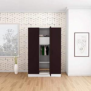 GODREJ INTERIO Slimline 3 Door Steel Almirah with Locker and Drawer – Shell Wine Red,Glossy Finish
