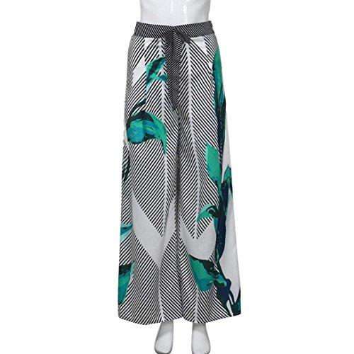 Moda Libero Donna Stampato Elegante Lunghe Pantaloni Waist High Cinghietti Estivi Pantalone Pantaloni Tempo Palazzo Grazioso Larghi Moda Spiaggia Nero Baggy 6rRq67