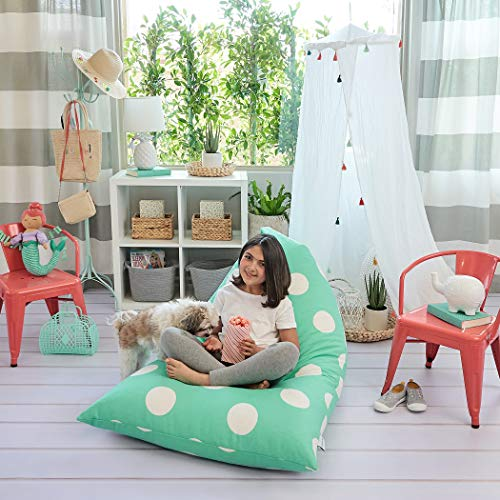 Butterfly Craze Stuffed Animal Storage Bean Bag Chair - Stuff 'n Sit Toy Bag Floor Lounger for Kids, Teens and Adult |Extra Large 200L/52 Gal Capacity |Premium Cotton Canvas (Teal)
