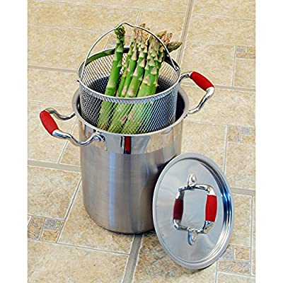 Asparagus Steamer Stainless Steel Pot 4 Quart, , Pasta Cooker with Strainer, Corn, Spaghetti