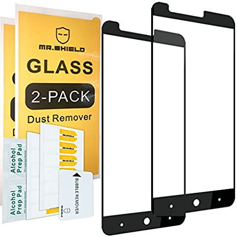 [2-PACK]-Mr Shield For ZTE Blade X Max [Tempered Glass] [Full Cover] Screen Protector with Lifetime Replacement (Zte Phones Protector)