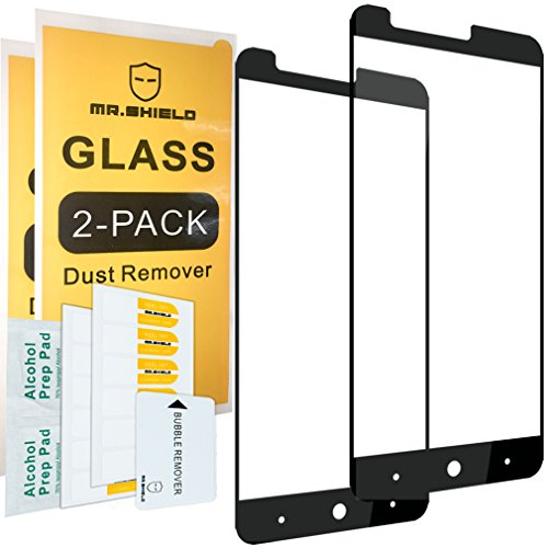 [2-Pack]-Mr.Shield for ZTE Blade X Max [Tempered Glass] [Full Cover] [Black] Screen Protector with Lifetime Replacement