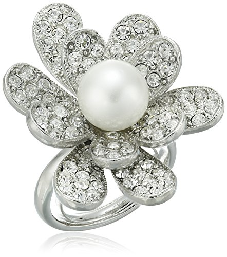 Kenneth Jay Lane Rhodium and Rhinestone with Pearl Center Flower Ring