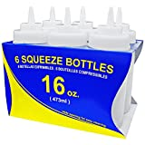 New Star Foodservice 26177 Plastic Wide Mouth Squeeze Bottles, 16-Ounce, Set of 6, Clear