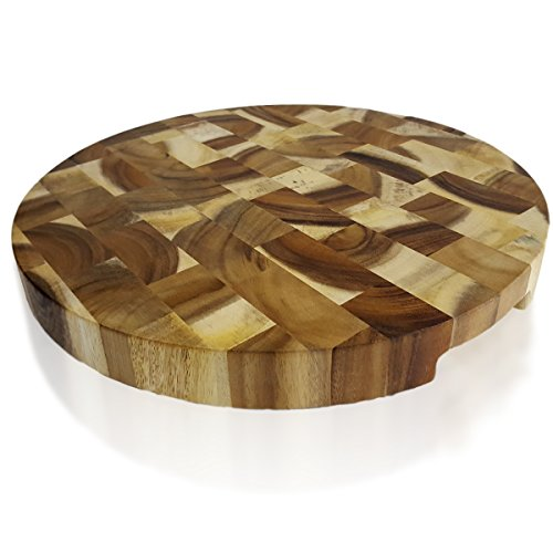 RoRo Large Round Wood Cutting Board, End-Grain Acacia, 16