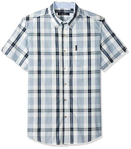 Ben Sherman Men's SS Dogtooth Check Shirt, Lake Blue M