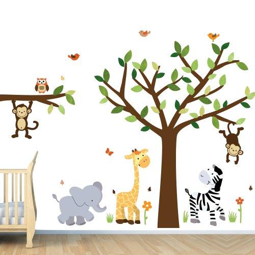 Safari Pride Jungle Tree Wall Decals, Jungle Stickers, Baby & Kids Zone
