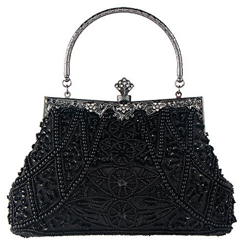 Sequins Clutch Evening Party Bag (Black) - 5