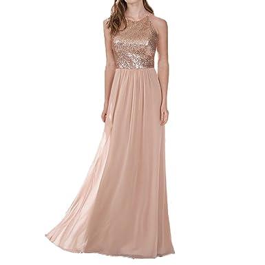 ebf13339e0e Honey Qiao Halter Bridesmaid Dresses Rose Gold Sequins Tank Chiffon Skirt