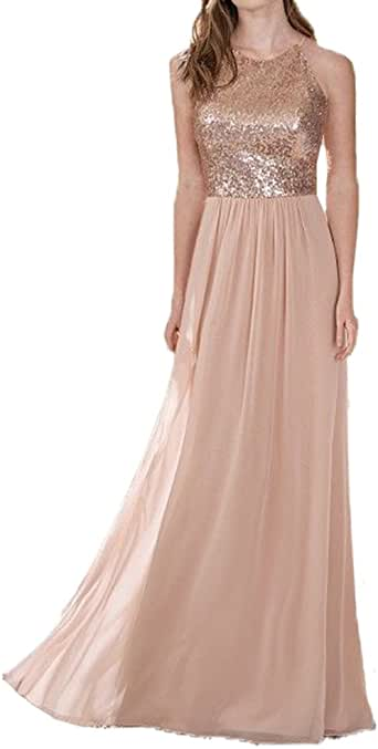 honey qiao Rose Gold Bridesmaid Dresses Two Pieces Sequins