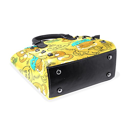 Background Bag Middle Leather Tote Top Bag Foxes Crossbody Handle Coosun Pu Multicolored Yellow Women Sings And Shoulder Bags qU7pHg4x